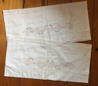 Antique 1900's Handmade Embroidered Bed Linen Sheets Shams Italian Trousseau