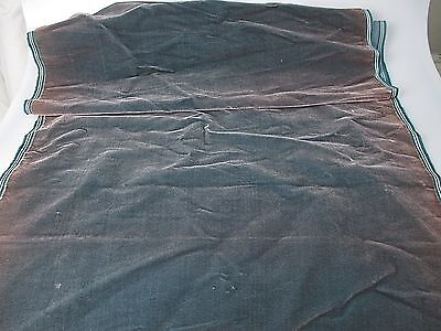 Antique velvet fabric remnant France Victorian cotton silk Teal Piece 3326
