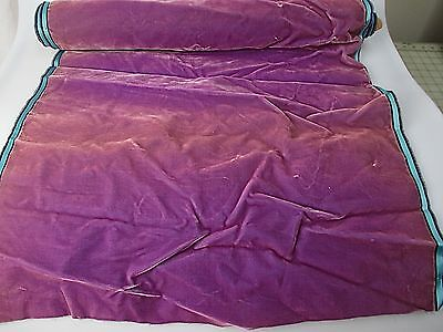 Antique velvet fabric remnant France Victorian cotton silk purple piece 3330