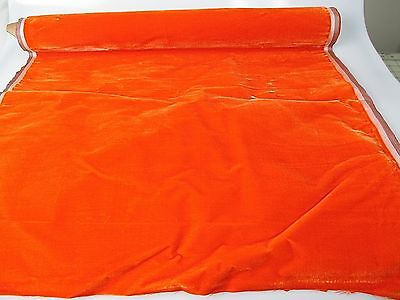 Antique velvet fabric remnant France Victorian cotton silk Orange Piece 3331