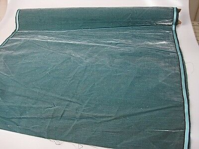 Antique velvet fabric remnant France Victorian cotton silk teal  piece 3333