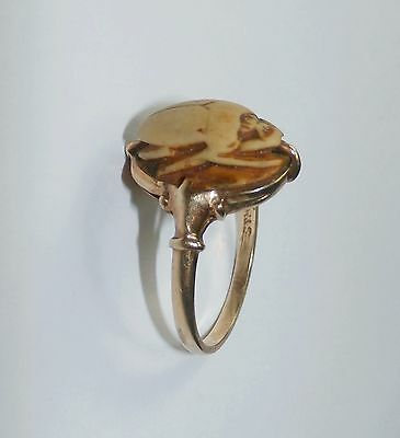 FABULOUS!! EGYPTIAN REVIVAL GOLD CARVED SCARAB RING! c.1880's-1920's!!