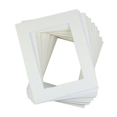 "50 Pack WHITE Picture Mats Mattes with White Core Bevel Cut 8x10"" for 5x7"" Photo"