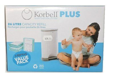 Korbell Nappy Disposal System 26 Litre Value Pack - 3 Refills