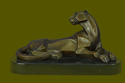 Collectible Figurine Bronze Decor Henry Moore Modern Art Abstract African Lion