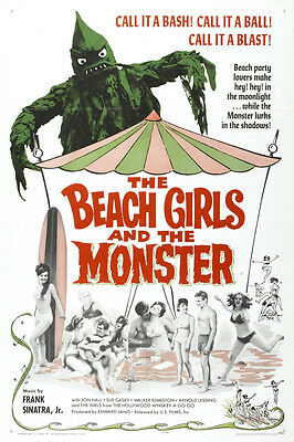 "VINTAGE - THE BEACH GIRLS AND THE MONSTER MOVIE POSTER 12"" x 18"""