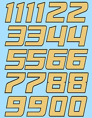 Pay Racing Numbers Gumball Nascar Style gold 1:18 Decal