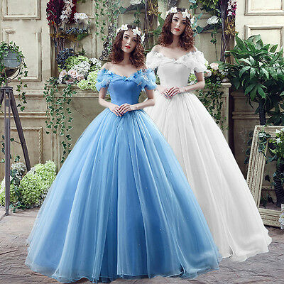 Lady Princess Cinderella Princess Dress Cosplay Blue Costume Adult Party wedding