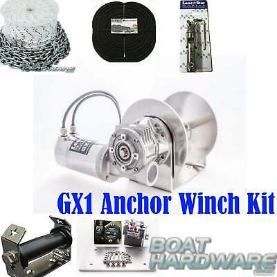 GX1 Lone Star Anchor Winch COMBO KIT 600W Electric 200mm Drum up to 6mtr Boats