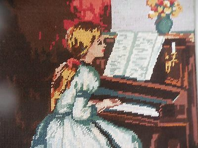 Tapestry Collection D'art No. 11.177 Girl Playing The Piano Completed Un Framed