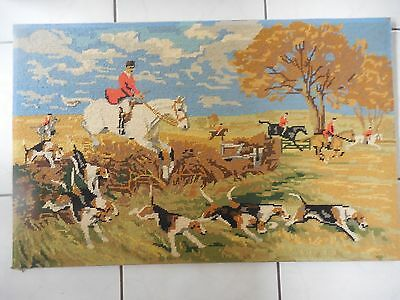 Tapestry Large Fox Hunt Completed & Framed Professionally Done