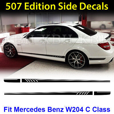 AMG Edition C63 507 Side Stripe Decals Stickers Mercedes Benz C Class W204 Black