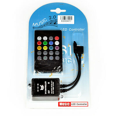 Music sound activated RGB LED controller for light strip 20 key remote control