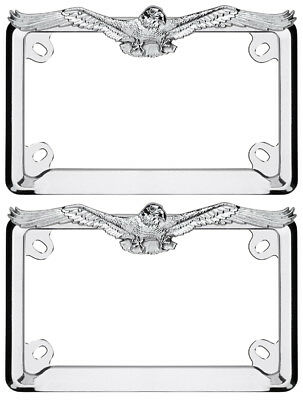 motorcycle chrome eagle license plate frame 2 pack cru77023 2pk - Eagle License Plate Frame