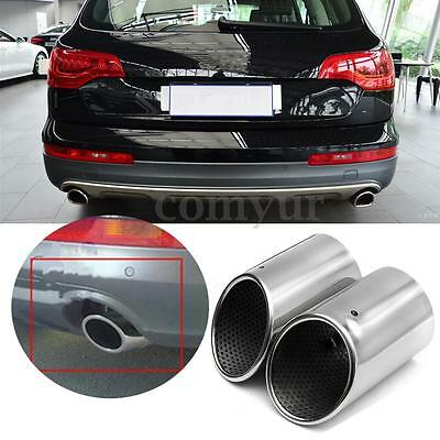 2Pcs Silver Stainless Steel Exhaust Tail Rear Muffler Tip Pipe Fit For AUDI Q7