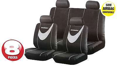 Universal Car Runner Grey Black Seat Covers Washable Airbag Safe 8 Pce Set
