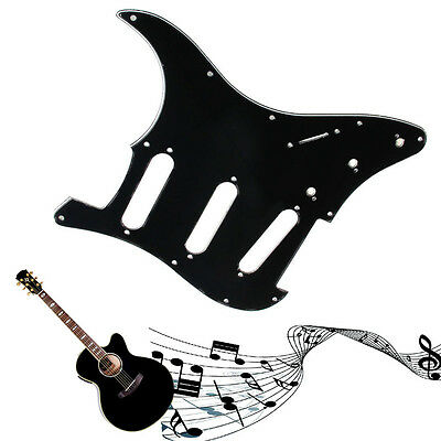 3Ply Electric Guitar Pickguard Scratch Plate For Fender Strat Stratocaster Black