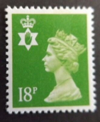 GB QEII Northern Ireland. SG NI47 18p Bright Green CB. Regional Machin.