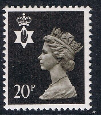 GB QEII Northern Ireland. SG NI51 20p Brownish-Black PP. Regional Machin.