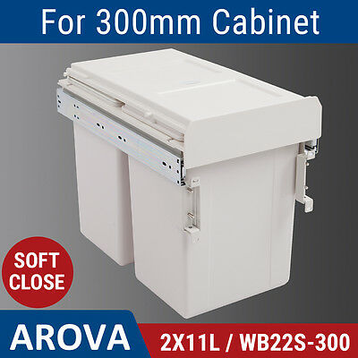 2X11L Side Mount Soft Close Pull Out Twin Bin Kitchen Double Dual Rubbish Waste