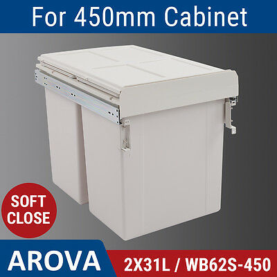 2X31L Side Mount Soft Close Pull Out Twin Bin Kitchen Double Dual Rubbish Waste