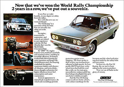 Fiat 131 Racing Mirafiori Sport Retro A3 Poster Print From Classic 70's Advert