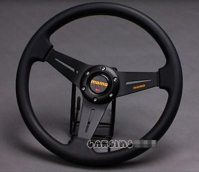350mm Car Steering Wheel PU Leather Sport + Horn Button Auto Black