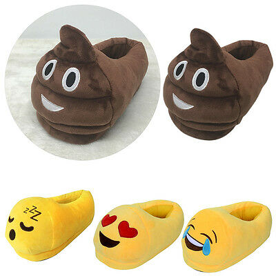 Cute Mens Women Emoji Slippers Winter Warm Soft Indoor Home Cotton Slipper Shoes