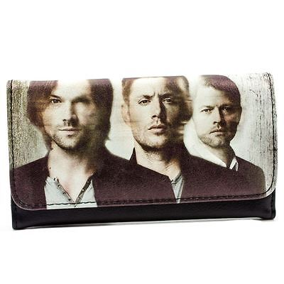 New Official Warner Bros Supernatural Tv Cast White Id & Card Tri-Fold Purse