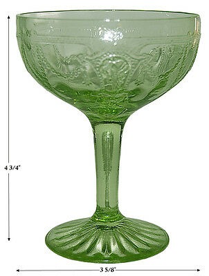 Hocking Cameo Green Depression Tall Champagne Sherbet / Goblet