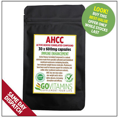 *BEST OFFER* ACTIVE HEXOSE CORRELATED COMPOUND (AHCC) 600mg CAPSULES, GOVITAMINS