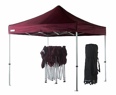 3m x 3m Maroon Poptents Heavy Duty Pop up Marquee Market Tent / Stall / Gazebo