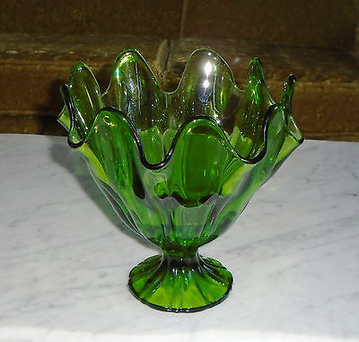 Large Heavy Green Vintage Viking Glass Co Epic Candy Dish Vase Compote 8x8inch