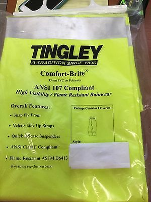 Tingley Comfort Brite Flame Resistant Raingear Overall Size 3Xl