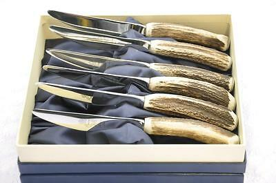 Six Stag/Antler Handle Steak/Grill Knives Boxed Made In Sheffield England