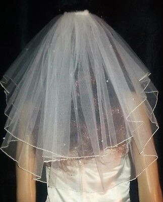 "Short Ivory shoulder length wedding veil. Diamante rhinestones 18""/20"" Hen Party"
