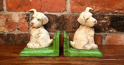 Cast Iron Pair of White Puppy Dog Vintage Bookends