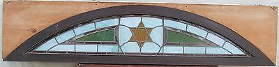"Antique Judaic Stained Glass Transom Window In Frame - 80"" Long"