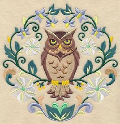 Embroidered Quilt Block or Cushion Panel 'Sweet Symmetry Owl' 100% cotton