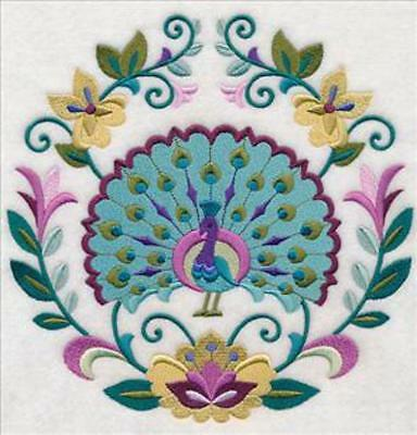 Embroidered Quilt Block or Cushion Panel 'Sweet Symmetry Peacock' 100% cotton