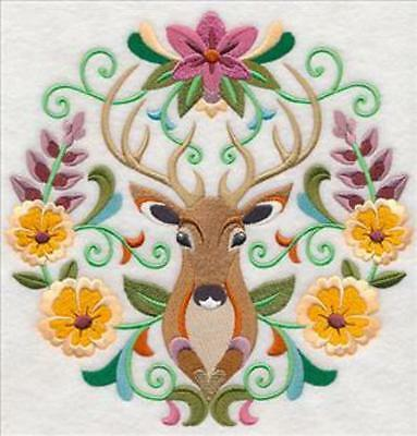 Embroidered Quilt Block or Cushion Panel 'Sweet Symmetry Deer' 100% cotton