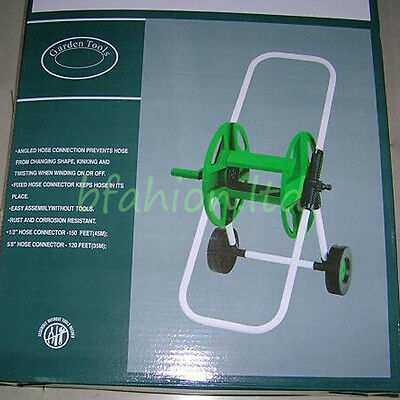 Portable Garden Watering Hose Pipe Reel Holder Cart Water Pipe Wheeled Trolley