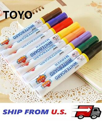 8 x LOW ODOR Dry Erase White Board Markers Assorted Colors Bullet Tip USA
