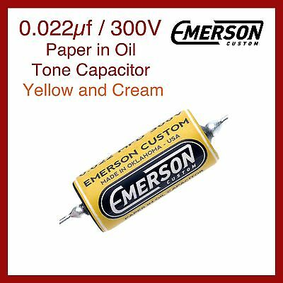Emerson Custom 0.022µf / 300V Paper in Oil Tone Capacitor - Yellow and Cream