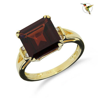 NEW Mozambique Garnet Solitaire and Diamond Ring in 14k Solid Yellow Gold #2733