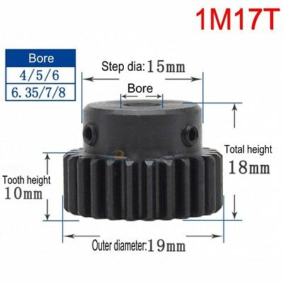 Steel Spur Motor Pinion Gear 1M17T Outer Dia 19mm Bore 4/5/6/6.35/8/10mm x1Pcs