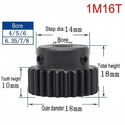 45# Steel Spur Motor Pinion Gear 1Mod 16T Outer Diameter 18mm Bore 8mm x 1Pcs