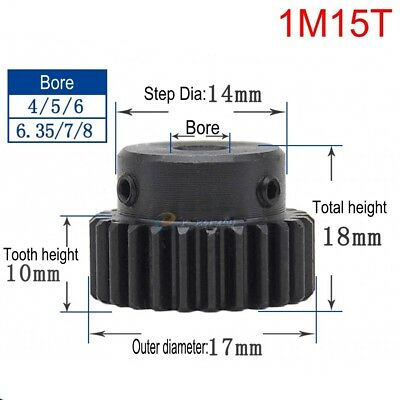 45# Steel Spur Motor Pinion Gear 1Mod 15T Outer Diameter 17mm Bore 8mm x 1Pcs