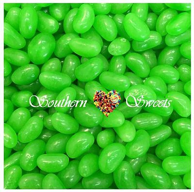 1KG GREEN JELLY BEANS Lollies Candy Buffet Bulk Green Apple Flavoured Lollies