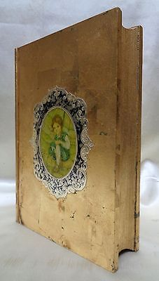 Beautiful Antique Gold Finish Wooden Book Shaped Box w. Girl & Bunnies Picture